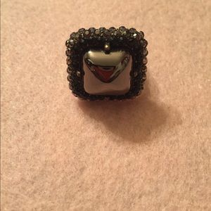 On Trend Square Marcasite Stretch Ring